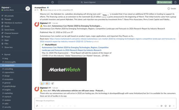 Partage d'alertes importantes sur une chaîne Slack pour une collaboration plus approfondie